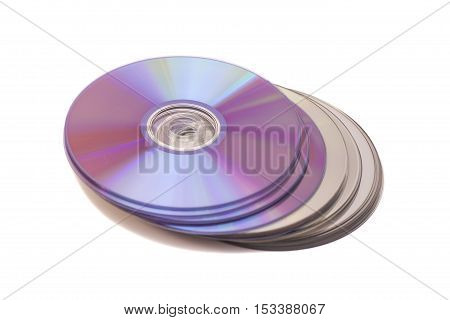 Stack of cd roms. CD disk on white background
