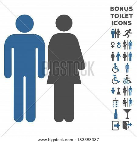 Married Couple icon and bonus male and woman WC symbols. Vector illustration style is flat iconic bicolor symbols, cobalt and gray colors, white background.