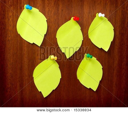 Blank note papers on wooden background poster