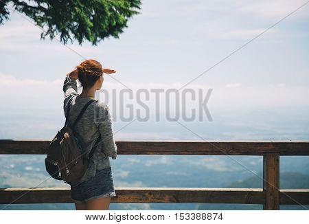 Travel Lifestyle Concept. Hiking in the mountains. Velika Planina or Big Pasture Plateau Slovenia.