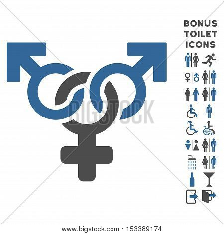 Polyandry icon and bonus gentleman and lady lavatory symbols. Vector illustration style is flat iconic bicolor symbols, cobalt and gray colors, white background.