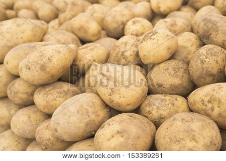 Potatoes. Fresh potatoes. Potatoes in the market. Yellow potatoes. Potatoes background. Vegetable Potatoes. (Selective background)