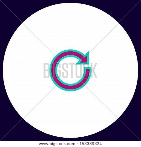 reset Simple vector button. Illustration symbol. Color flat icon