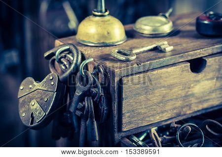 Tools To Repair In Old Locksmiths Workshop