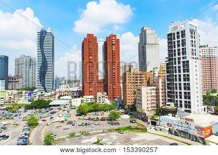 Taichung Taiwan - November 01 2015 : skyline of taichung city on November 01 2015