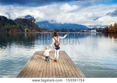 Family On The Lake Bled, Slovenia, Europe