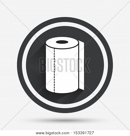 Paper towel sign icon. Kitchen roll symbol. Circle flat button with shadow and border. Vector