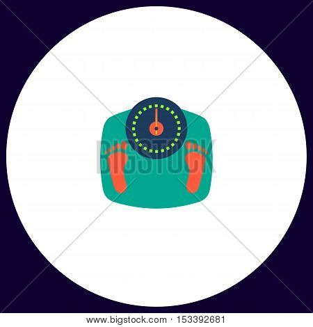Bathroom scale Simple vector button. Illustration symbol. Color flat icon