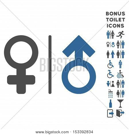 WC Gender Symbols icon and bonus gentleman and lady toilet symbols. Vector illustration style is flat iconic bicolor symbols, cobalt and gray colors, white background.