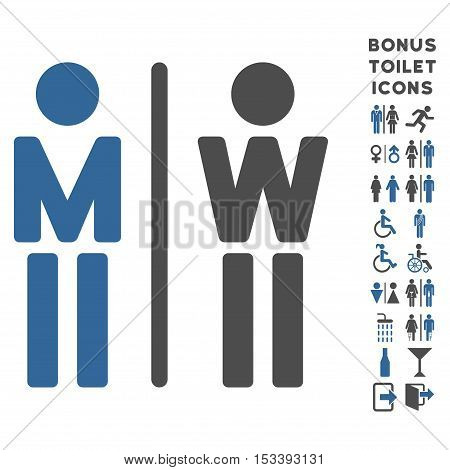 WC Persons icon and bonus gentleman and lady WC symbols. Vector illustration style is flat iconic bicolor symbols, cobalt and gray colors, white background.