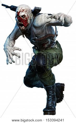 Zombie in army clothing moving in to attack