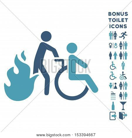 Fire Patient Evacuation icon and bonus gentleman and lady WC symbols. Vector illustration style is flat iconic bicolor symbols, cyan and blue colors, white background.