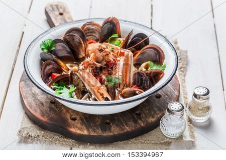 Spicy Seafood Soup With Mussels And Langoustines