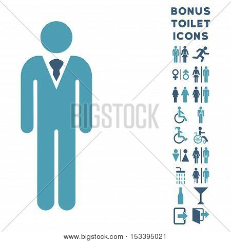Gentleman icon and bonus gentleman and lady toilet symbols. Vector illustration style is flat iconic bicolor symbols, cyan and blue colors, white background.