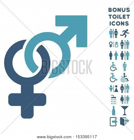Heterosexual Symbol icon and bonus gentleman and woman lavatory symbols. Vector illustration style is flat iconic bicolor symbols, cyan and blue colors, white background.