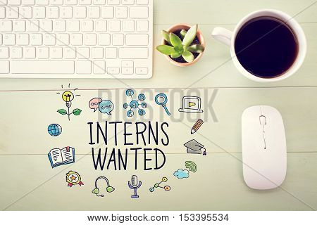 Interns Wanted Concept With Workstation