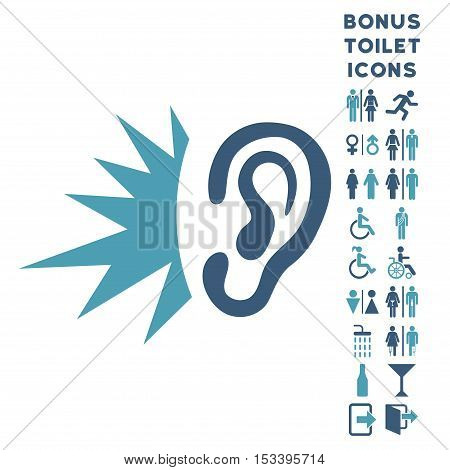 Listen Loud Sound icon and bonus gentleman and lady restroom symbols. Vector illustration style is flat iconic bicolor symbols, cyan and blue colors, white background.