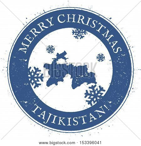 Tajikistan Map. Vintage Merry Christmas Tajikistan Stamp. Stylised Rubber Stamp With County Map And