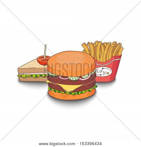 Set of cartoon fast-food meal colored with shadows on white background. Hamburger, sandwich and fries. EPS10