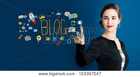 Blog Concept With Business Woman