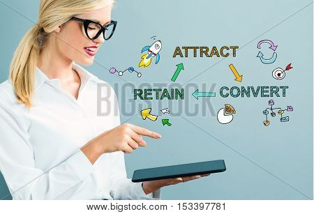 Attract Convert Retain Text With Business Woman