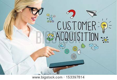 Customer Acquisition Text With Business Woman
