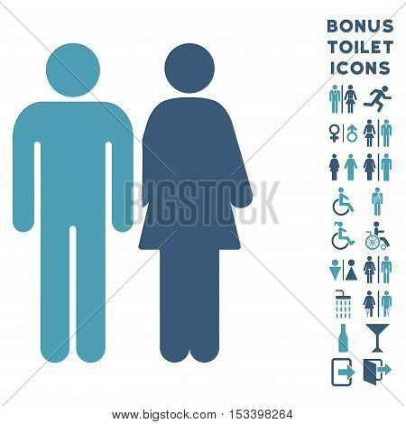 Married Couple icon and bonus man and woman WC symbols. Vector illustration style is flat iconic bicolor symbols, cyan and blue colors, white background.