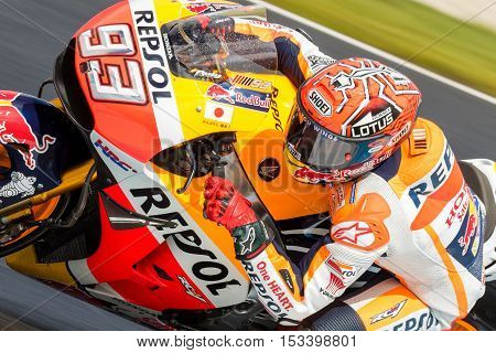 MELBOURNE AUSTRALIA – OCTOBER 22: Marc Marquez (ESP) riding the #93 Repsol Honda Team's Honda during the 2016 Michelin Australian Motorcycle Grand Prix at 2106 Michelin Australian Motorcycle Grand Prix Australia on October 21 2016.