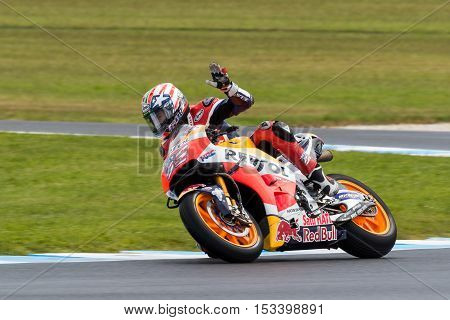 MELBOURNE AUSTRALIA – OCTOBER 22: during the 2016 Michelin Australian Motorcycle Grand Prix at 2106 Michelin Australian Motorcycle Grand Prix Australia on October 21 2016.