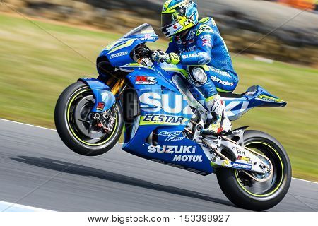 MELBOURNE AUSTRALIA – OCTOBER 23: Aleix Espargaro (ESP) riding the # 41 Team Suzuki Ecstar's Suzuki during the 2016 Michelin Australian Motorcycle Grand Prix at 2106 Michelin Australian Motorcycle Grand Prix Australia on October 23 2016.