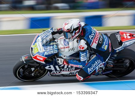 MELBOURNE AUSTRALIA – OCTOBER 23: Loris Baz (FRA) riding the #76 Avintia Racing's Ducati during the 2016 Michelin Australian Motorcycle Grand Prix at 2106 Michelin Australian Motorcycle Grand Prix Australia on October 23 2016.