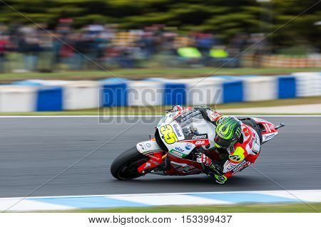 MELBOURNE AUSTRALIA – OCTOBER 23: Cal Crutchlow (GBR) riding the #35 LCR Honda's Honda during the 2016 Michelin Australian Motorcycle Grand Prix at 2106 Michelin Australian Motorcycle Grand Prix Australia on October 23 2016.
