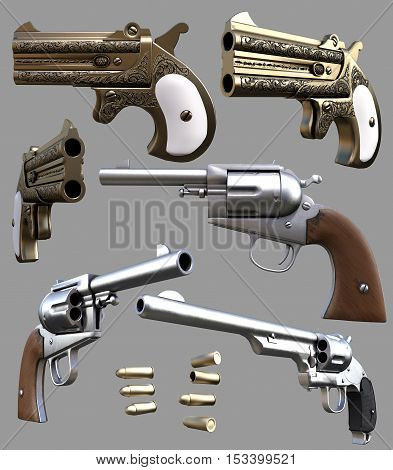 Cowboy pistols , revolvers  and bullets  3D illustration