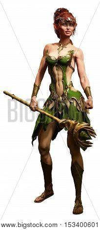 Elf druid adventurer with staff 3D illustration
