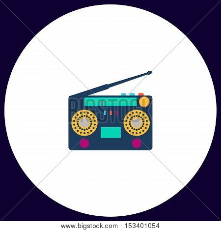 boombox Simple vector button. Illustration symbol. Color flat icon
