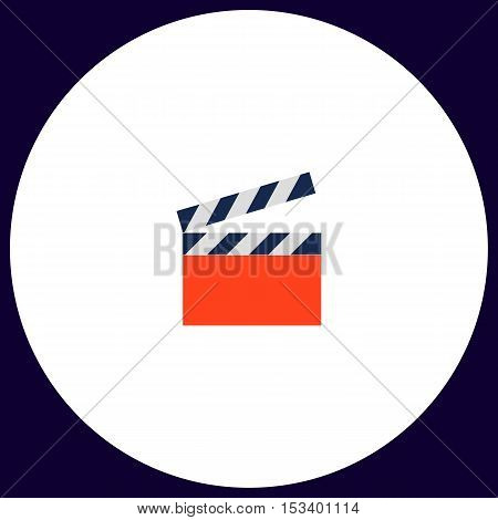 clap board Simple vector button. Illustration symbol. Color flat icon