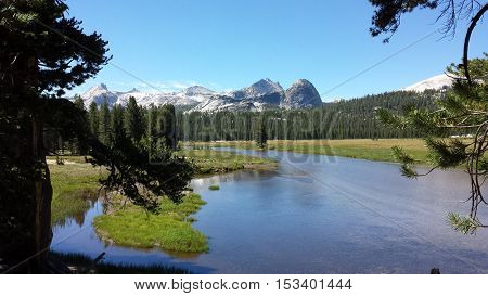 Tuolumne Meadows and the Tuolumne river in Yosemite National Park