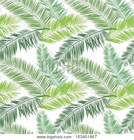 Green and white palm vector seamless pattern. Hawaiian shirt pattern with palm leaves.