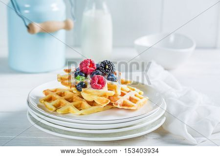 Homemade Waffels With Berry Fruits For Breakfast
