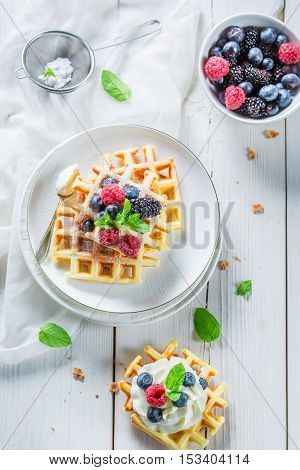 Homemade Waffels With Berry Fruits And Whipped Cream