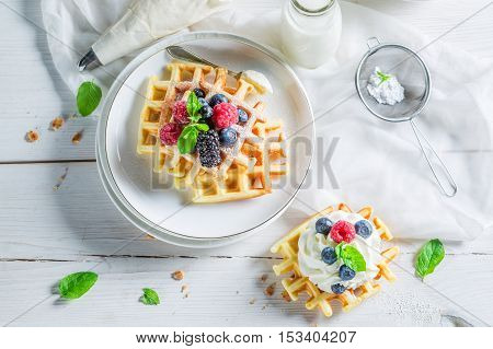 Sweet Waffels With Berry Fruits And Mint Leaves