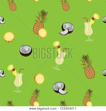 Pina Colada green vector seamless  pattern. Pineapple, coconut and Pina Colada cocktail seamless vector pattern on green background.