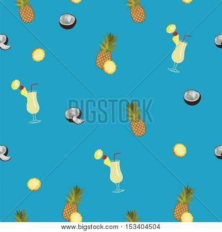 Pina Colada blue vector seamless  pattern. Pineapple, coconut and Pina Colada cocktail seamless vector pattern on blue background.