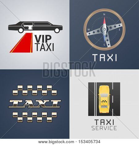 Taxi, cab set of vector logo, icon. Car hire black and yellow background, badge, app emblem. Taxicab made with pixels design element
