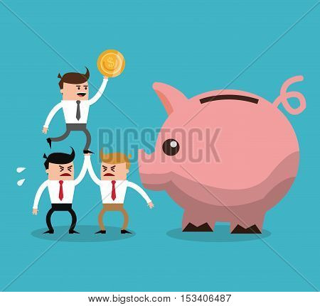 Businessman cartoon piggy and coin icon. Profit business and financial theme. Colorful design. Vector illustration