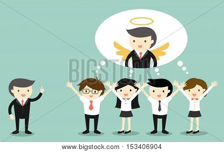 Business concept, Boss gives compliment to business people and they are thinking that boss is an angel. Vector illustration