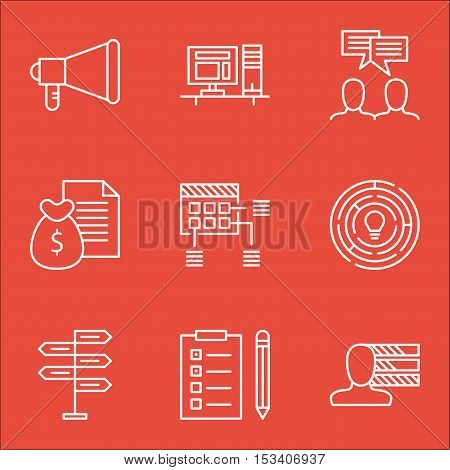 Set Of Project Management Icons On Reminder, Opportunity And Discussion Topics. Editable Vector Illu