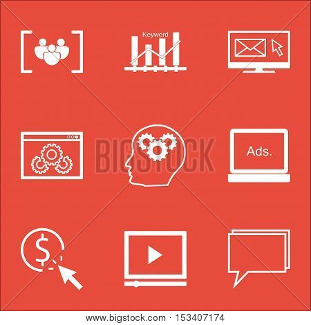 Set Of Advertising Icons On Keyword Optimisation, Brain Process And Questionnaire Topics. Editable V