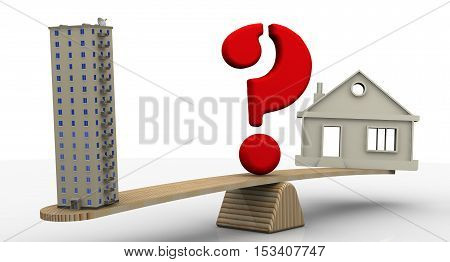 House or apartment. Private house and apartment building weighed on the scales with a red question symbol. The concept of comparing the types of housing. Isolated. 3D Illustration
