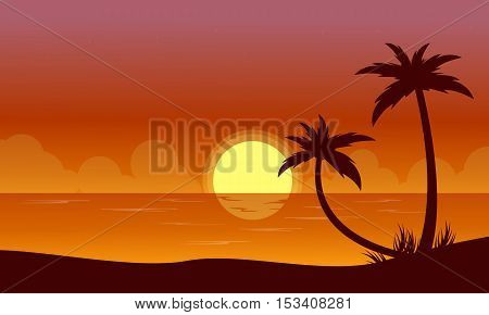 Silhouette of beach at sunset with reflection scenery vector